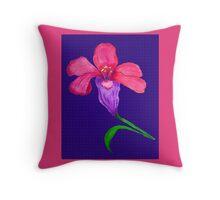 Iris original drawing on blue pattern background Throw Pillow