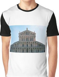 Facade of church from Pisa with many marble columns Graphic T-Shirt
