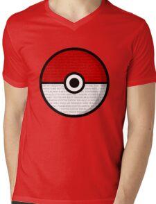 Pokéball with Pokémon Theme Lyrics Mens V-Neck T-Shirt