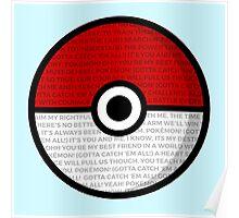 Pokéball with Pokémon Theme Lyrics Poster
