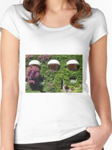 Building facade covered in vegetation Women's Fitted Scoop T-Shirt