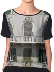 Classical facade from Genova with detailed decoration ornaments Chiffon Top