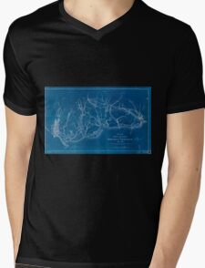 0224 Railroad Maps Map showing the location of the Charleston Savannah R R May Inverted Mens V-Neck T-Shirt