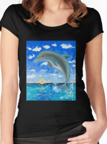 Baby Dolphin  Women's Fitted Scoop T-Shirt