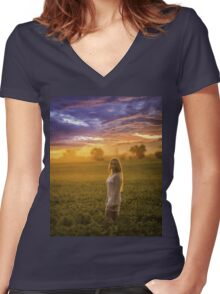 woman in wreath Women's Fitted V-Neck T-Shirt