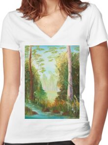 hiddenplace Women's Fitted V-Neck T-Shirt
