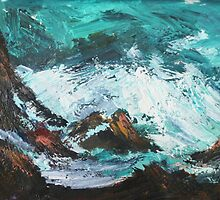 Pacific Rocks California Seascape Acrylics On Paper Fine Art Contemporary Painting by JamesPeart