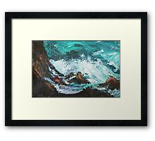 Pacific Rocks California Seascape Acrylics On Paper Fine Art Contemporary Painting Framed Print