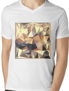 Bisque Gray Abstract Low Polygon Background Mens V-Neck T-Shirt