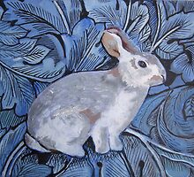Rabbit on William Morris inspired background by Marie Theron
