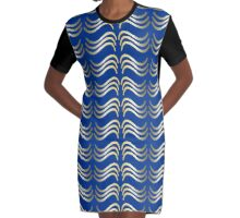Gold on blue Graphic T-Shirt Dress