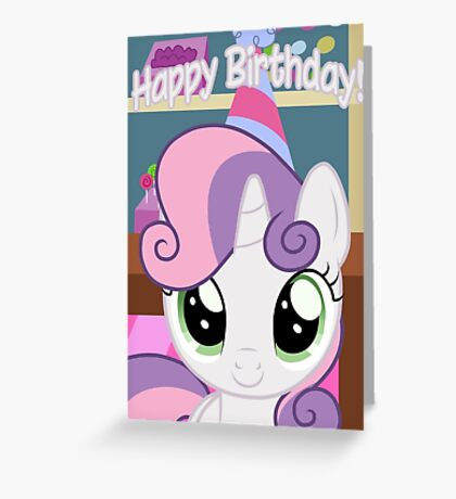Sweetie Belle Birthday Card - Postcard My Little Pony Greeting Card