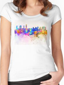 Incheon skyline in watercolor background Women's Fitted Scoop T-Shirt