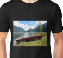 Red Boats by the Fjord Unisex T-Shirt
