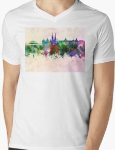 Wroclaw skyline in watercolor background Mens V-Neck T-Shirt