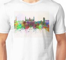 Zaragoza skyline in watercolor background Unisex T-Shirt