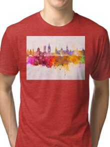 Ghent skyline in watercolor background Tri-blend T-Shirt