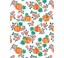 Pumpkins and Roses Photographic Print
