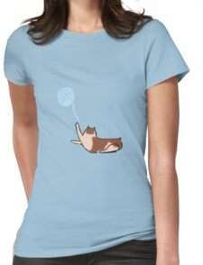 Minimalist Cat With Yarn Womens Fitted T-Shirt