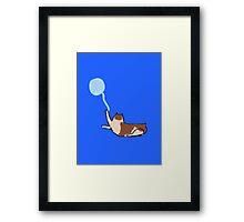 Minimalist Cat With Yarn Framed Print