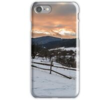 red winter sunset in mountains village iPhone Case/Skin