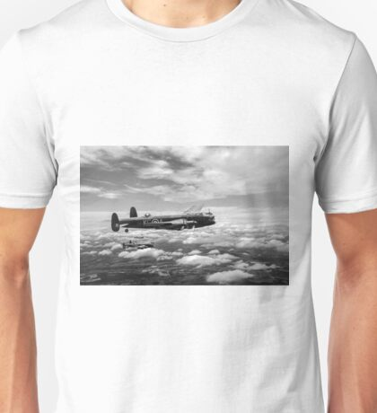 617 Squadron Tallboy Lancasters black and white version Unisex T-Shirt