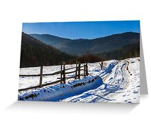 snowy road to coniferous forest in mountains Greeting Card