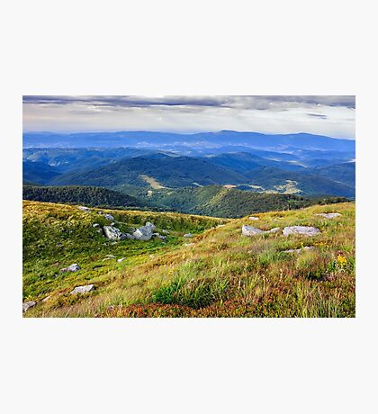 craggy stones on mountain green bumps Photographic Print