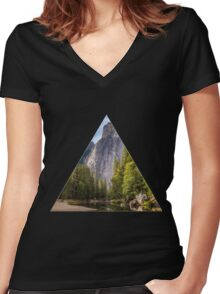 Nature Triangle Women's Fitted V-Neck T-Shirt