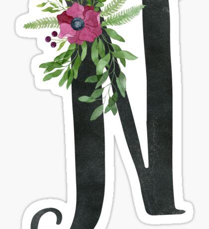 Monogram N with Floral Wreath Sticker