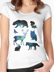 Galaxy Forest Animals ver. 2 Women's Fitted Scoop T-Shirt