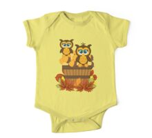 Cute Autumn Owls One Piece - Short Sleeve