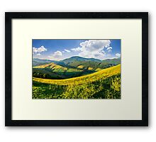 agricultural fields in mountains Framed Print