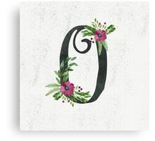 Monogram O with Floral Wreath Canvas Print