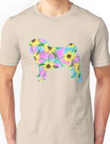 Pug, Watercolor Sunflowers Unisex T-Shirt