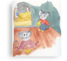 Mice Eating Cheese Canvas Print