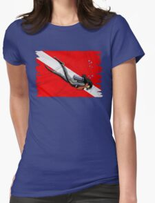 Woman Diving Womens Fitted T-Shirt