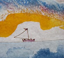 Boat sailing away over the horizon by printmakermama