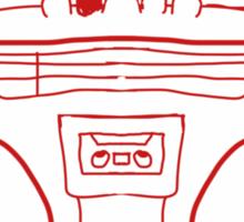 Red Boombox Sketch Sticker