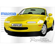 Mazda MX-5 yellow Poster