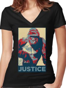 Harambe - Justice Women's Fitted V-Neck T-Shirt