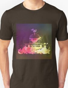 Rustic shadow,cut out art,bird in cage, flowers,floral,dark shades,yellow,pink Unisex T-Shirt