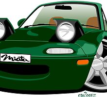 Mazda Miata caricature green by car2oonz
