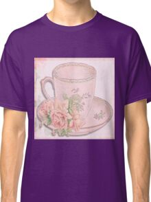 powder pink,shabby chic,rustic,tea cup with a rose,vintage,girly,feminine,soft, Classic T-Shirt