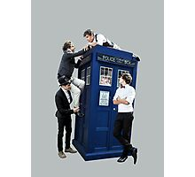 One Direction & The Tardis (transparent) Photographic Print