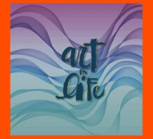 Abstract, beautiful, wavy smoke in the air,Typography,Art is life,contemporary art Kids Tee