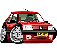 Peugeot 205 GTI caricature red Photographic Print