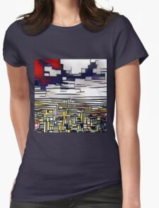 Abstract art,Mondrian,deep blue,red,white,black,yellow Womens Fitted T-Shirt