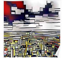 Abstract art,Mondrian,deep blue,red,white,black,yellow Poster