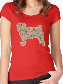 Christmas Holly Pug Women's Fitted Scoop T-Shirt